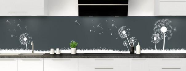 Crédence de cuisine Pissenlit au vent couleur gris carbone panoramique motif inversé