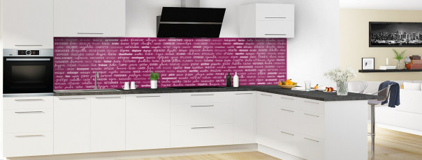 Crédence de cuisine Etapes de recette couleur prune panoramique en perspective