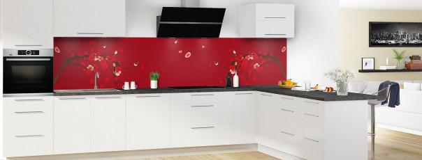 Crédence de cuisine Cerisier japonnais couleur rouge carmin panoramique motif inversé en perspective