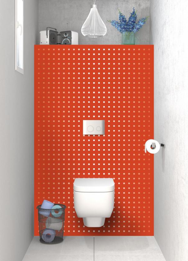 Panneau WC Petits carrés couleur rouge brique