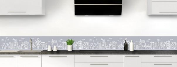 Crédence de cuisine Dessin de ville couleur gris métal dosseret