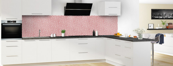 Crédence de cuisine Mosaïque petits cœurs couleur rouge carmin panoramique en perspective