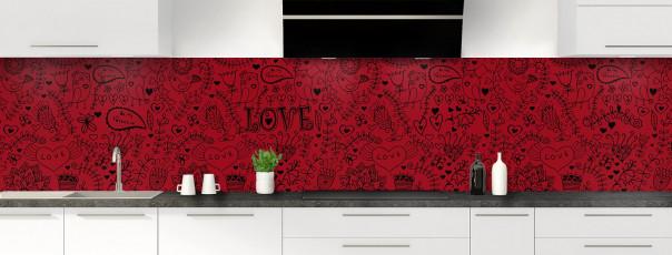Crédence de cuisine Love illustration couleur rouge carmin panoramique