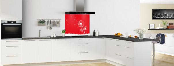 Crédence de cuisine Pissenlit au vent couleur rouge vif fond de hotte motif inversé en perspective