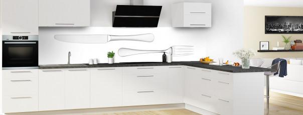 Crédence de cuisine Fourchette et couteau fond blanc panoramique en perspective