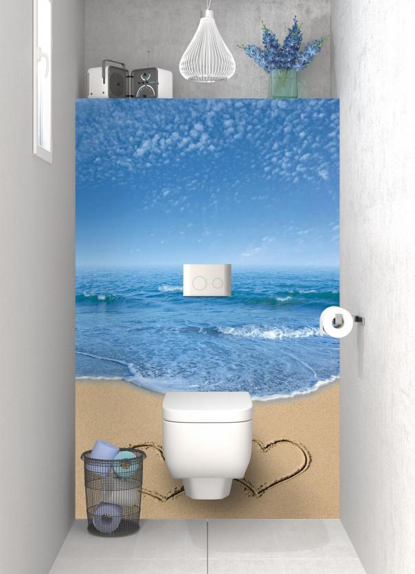 Panneau WC Cœurs sur le sable