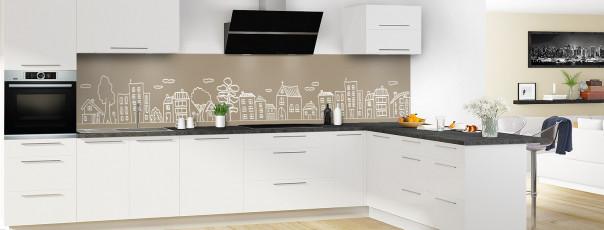 Crédence de cuisine Dessin de ville couleur marron glacé panoramique en perspective