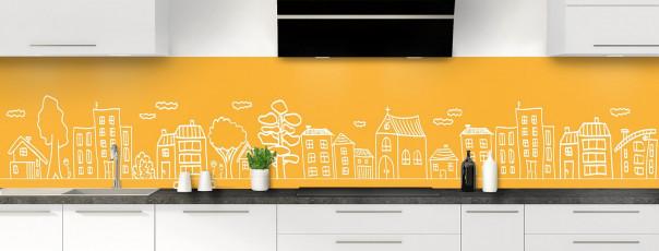 Crédence de cuisine Dessin de ville couleur abricot panoramique