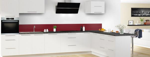 Crédence de cuisine Lignes horizontales couleur rouge pourpre dosseret en perspective