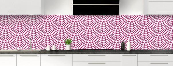 Crédence de cuisine Mosaïque petits cœurs couleur prune panoramique