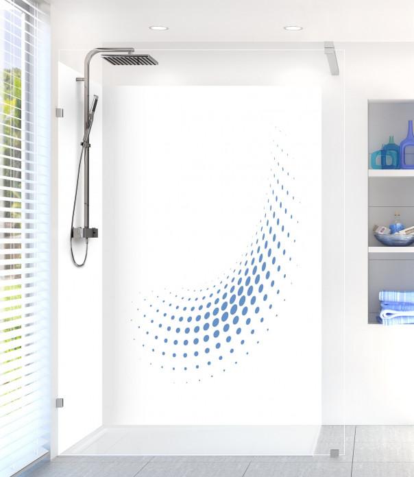 Panneau de douche Nuage de points couleur bleu lavande motif inversé