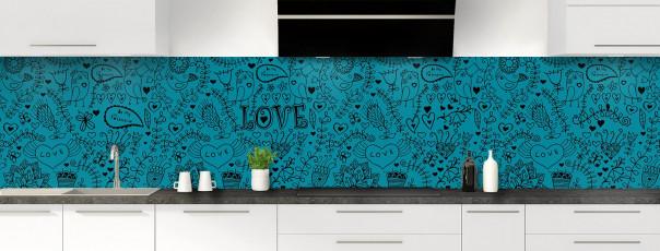 Crédence de cuisine Love illustration couleur bleu canard panoramique
