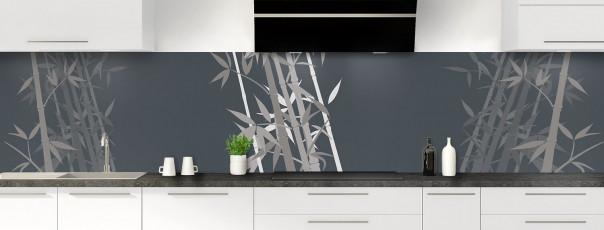 Crédence de cuisine Bambou zen couleur gris carbone panoramique motif inversé