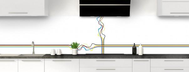 Crédence de cuisine Light painting couleur blanc panoramique motif inversé