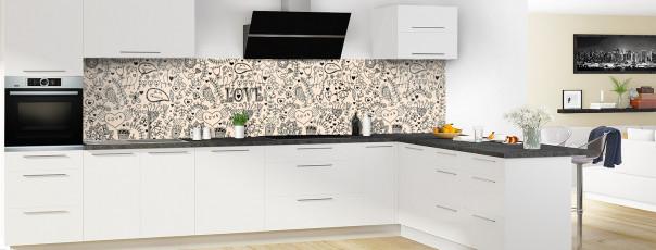 Crédence de cuisine Love illustration couleur sable panoramique en perspective