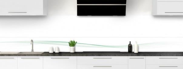 Crédence de cuisine Vague graphique couleur vert eau dosseret