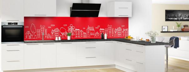 Crédence de cuisine Dessin de ville couleur rouge vif panoramique en perspective