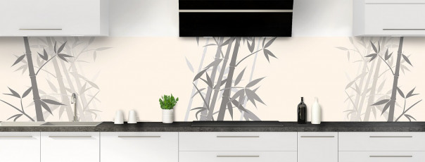 Crédence de cuisine Bambou zen couleur magnolia panoramique