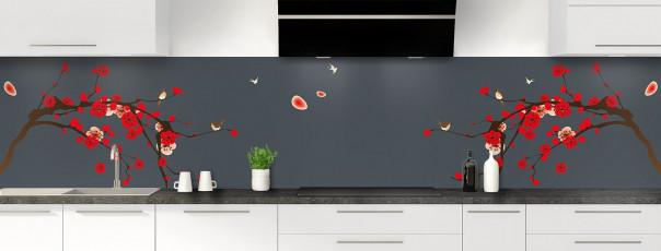 Crédence de cuisine Cerisier japonnais couleur gris carbone panoramique