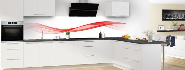 Crédence de cuisine Vague graphique couleur rouge vif panoramique motif inversé en perspective