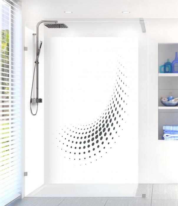 Panneau de douche Nuage de points couleur gris carbone motif inversé