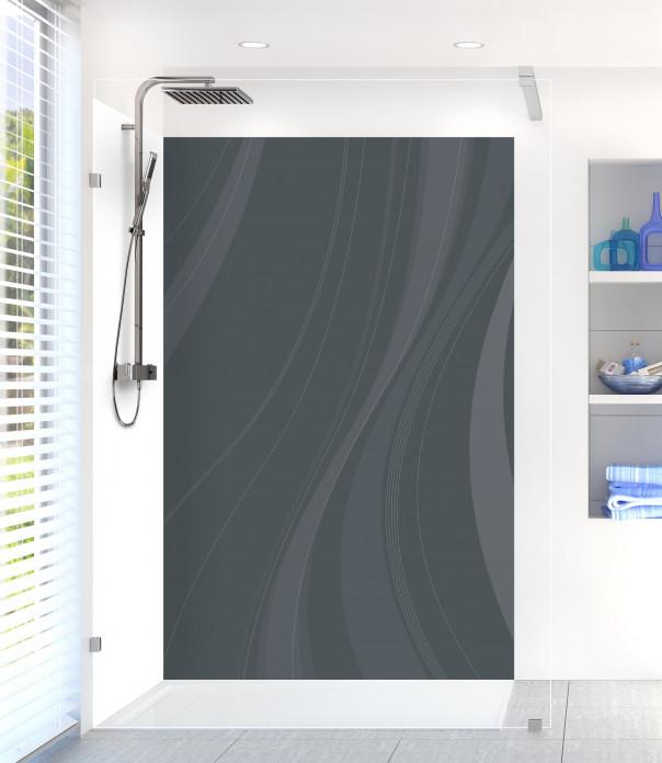 Panneau de douche Voilage couleur gris carbone motif inversé