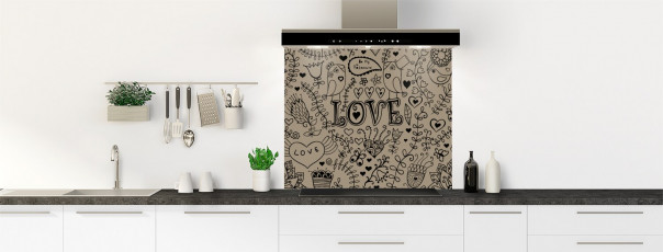 Crédence de cuisine Love illustration couleur marron glacé fond de hotte