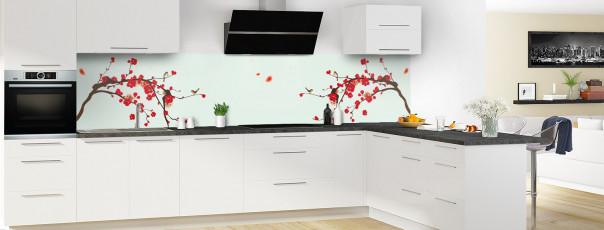 Crédence de cuisine Cerisier japonnais couleur vert eau panoramique motif inversé en perspective