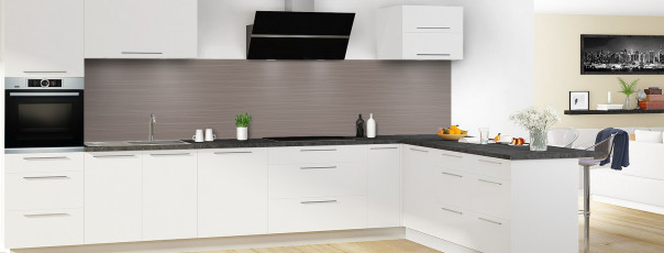 Crédence de cuisine Lignes horizontales couleur taupe panoramique en perspective