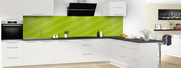 Crédence de cuisine Ondes couleur vert olive panoramique en perspective