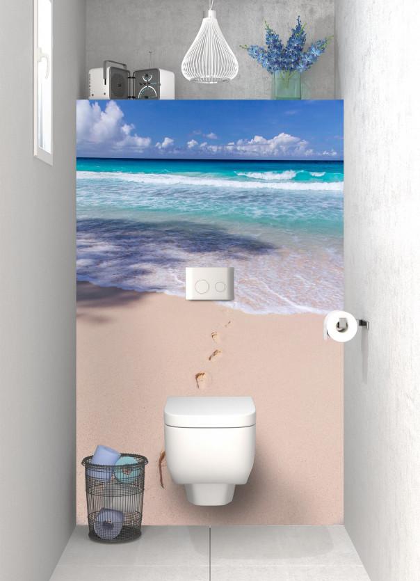 Panneau WC Les pieds dans le sable motif inversé
