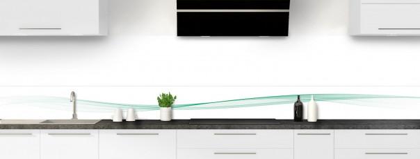 Crédence de cuisine Vague graphique couleur vert pastel dosseret motif inversé