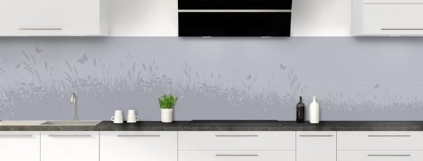 Crédence de cuisine Prairie et papillons couleur gris métal panoramique