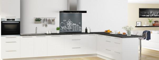Crédence de cuisine Dessin de ville couleur gris carbone fond de hotte en perspective