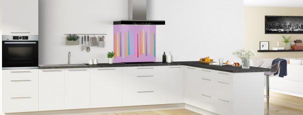 Crédence de cuisine Barres colorées couleur parme fond de hotte en perspective