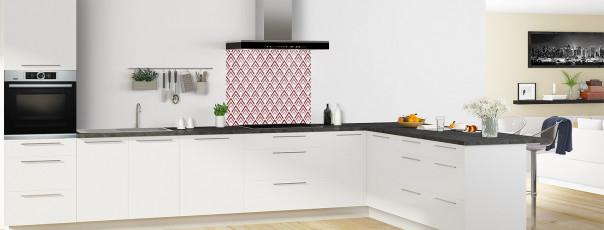 Crédence de cuisine Ecailles Magnolia couleur rouge pourpre fond de hotte en perspective
