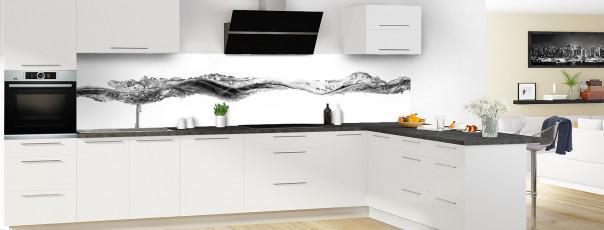 Crédence de cuisine Water Splash Noir panoramique motif inversé en perspective