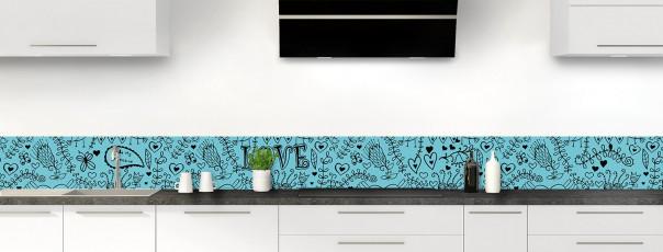 Crédence de cuisine Love illustration couleur bleu lagon dosseret