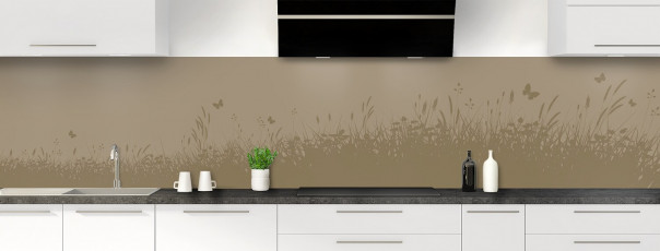 Crédence de cuisine Prairie et papillons couleur marron glacé panoramique motif inversé