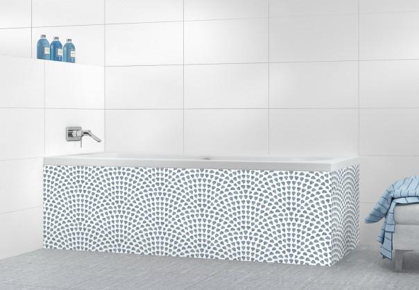 Panneau tablier de bain Mosaïque petits cœurs couleur bleu azur