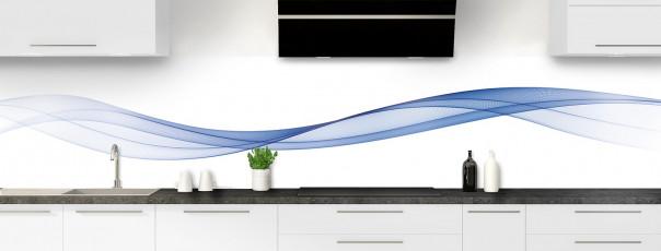 Crédence de cuisine Vague graphique couleur bleu lavande panoramique motif inversé
