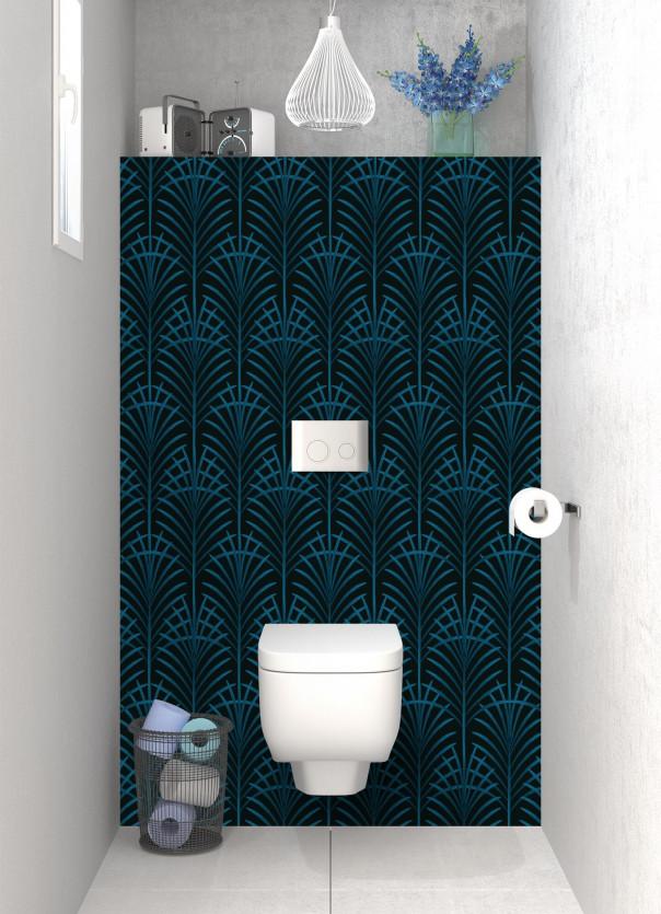 Panneau WC Feuilles de paume couleur bleu baltic