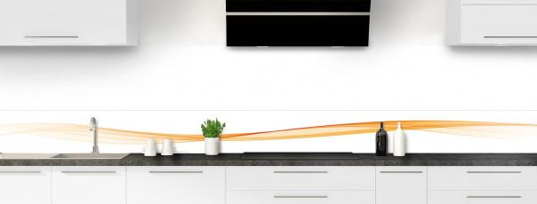 Crédence de cuisine Vague graphique couleur abricot dosseret motif inversé