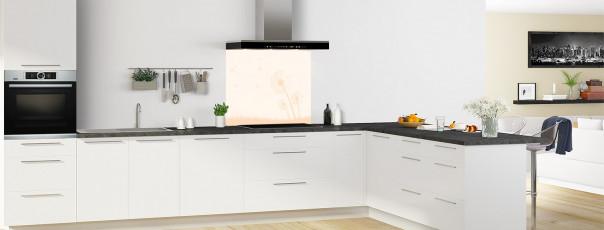 Crédence de cuisine Pissenlit au vent couleur magnolia fond de hotte motif inversé en perspective