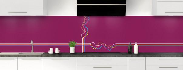 Crédence de cuisine Light painting couleur prune panoramique