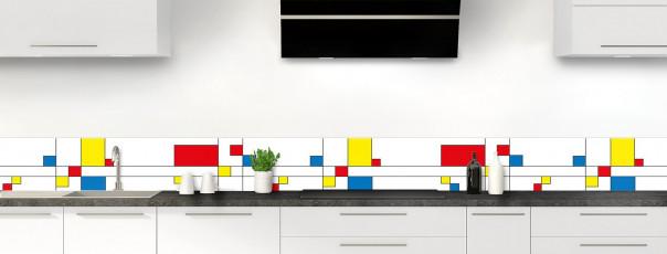 Crédence de cuisine Rectangles Mondrian dosseret motif inversé