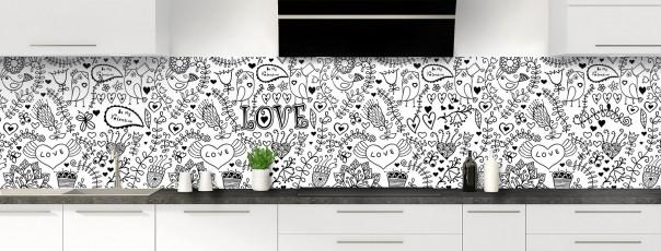 Crédence de cuisine Love illustration couleur blanc panoramique