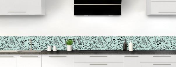 Crédence de cuisine Love illustration couleur vert pastel dosseret