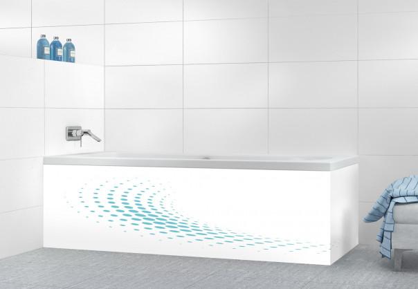 Panneau tablier de bain Nuage de points couleur bleu lagon motif inversé
