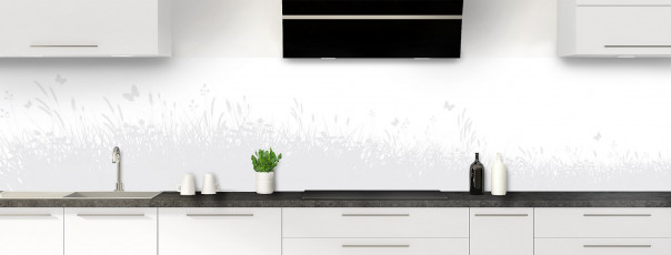 Crédence de cuisine Prairie et papillons couleur blanc panoramique